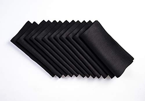 - Solino Home Linen Cocktail Napkin - 9 x 9 Inch, Set of 12-100% Natural Fabric Handcrafted Machine Washable Athena - Black