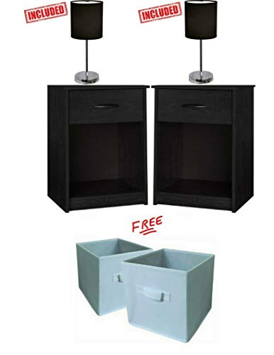 Nightstand End Tables Pair Bedroom Table Furniture in Ebony Finish with Set of 2 Lamp Bundle Set! -