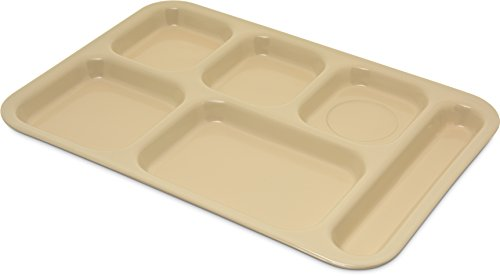 Carlisle 4398825 Right-Hand 6 Compartment Melamine Cafeteria Food Tray, BPA Free, 14.5