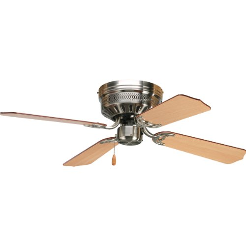 Progress Lighting P2524-09 42-Inch Hugger 4 Blade Fan with 3-Speed Reversible Motor with Reversible Cherry or Natural Cherry Blades, Brushed Nickel Cherry Brushed Steel