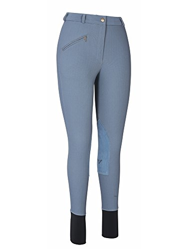 (TuffRider Women's Ribb Knee Patch Breeches (Long), Smoke, 24)