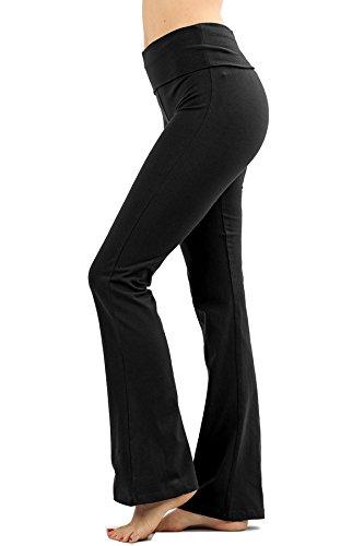- Attitude Stretchy Fold-Over Waistband Yoga Pants (3XL, Black, Black)