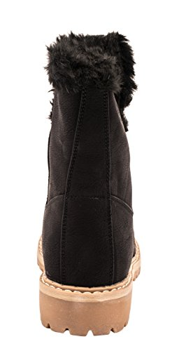 Nahka Hyvät Työntekijä Lämmin Vuorattu Worker Musta Boots Lined Kengät Ladies Comfortable Warm Black Shoes Elara Elara Mukavat Saappaat Näyttää Look Leather 8AUz11