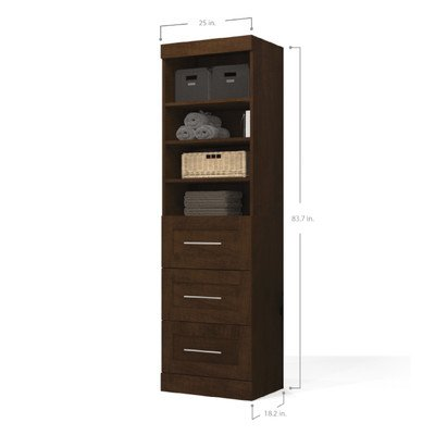 Bestar Furniture 26871-69 Pur 25'' Storage Unit Including 3 Drawers with Simple Pulls and Molding Detail in