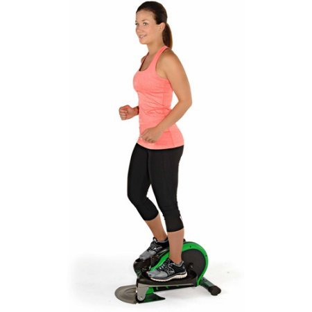 Green Indoor Elliptical Trainer Machine Sports Fitness Exercise Cardio Workout Training Home Gym Stepper Machine Aerobic Climber Adjustable Tension Workout Intensity Electronic Fitness Monitor Display