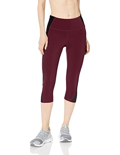 Amazon Essentials Women's Colorblock Performance Mid-Rise Capri Legging, Burgundy/Black/Charcoal, Small