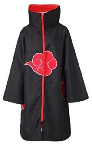 Hayabusa Costume Unisex Naruto Akatsuki Uchiha Itachi Style Cloak with Headband (S, Black) ()