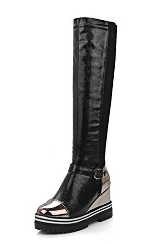 YE Damen Wedges Keilabsatz Langschaft Stiefel mit Schnallen High Heels Plateau KnieHoch 9cm Absatz Boots Schwarz