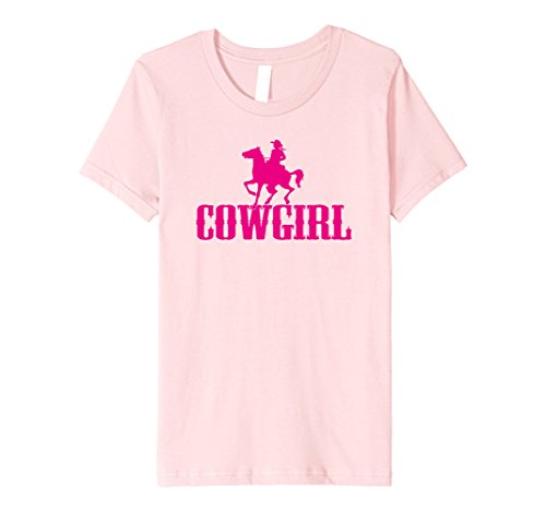 Kids Cowgirl Western Horseback Riding Girl Premium fitted T-shirt 8 Pink