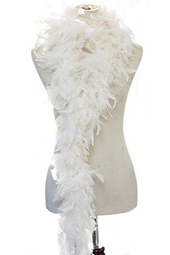 40 gram Burlesque Costume Deluxe Feather Boa : Soft Full Vegas Style 6 ft. (Cream) (Costumes Vegas)