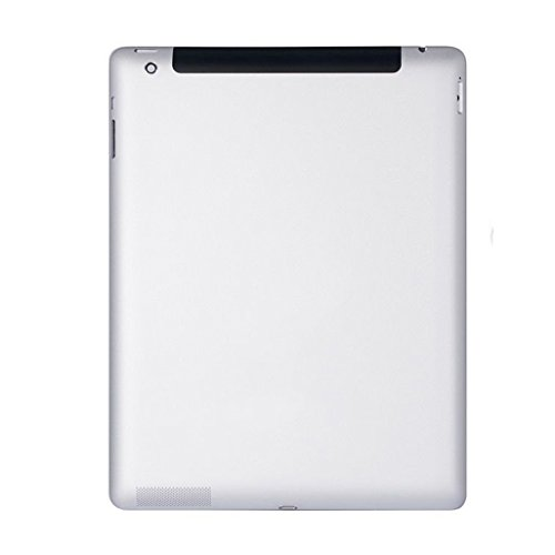 New Silver Metal Rear Housing Back Case Battery Door Cover For iPad 4th Gen With Retina Display Wi-Fi + CELLULAR 4G Version - Model: A1459 A1460 ()