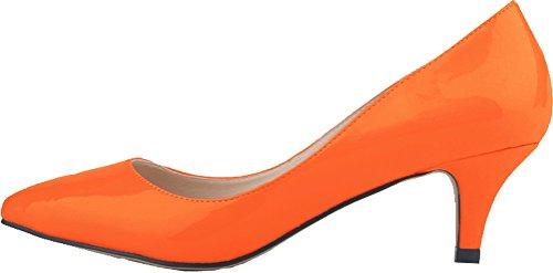 Salabobo Womens Smart Wedding Bride Bridesmaid OL Night Party Pointed Toe Low Heel PU Pumps Orange oLf3mJW