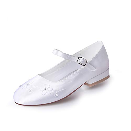 e Communion Shoes Comfortable Flower Girls Dressy Shoes Dyeable Satin Size 1 ()