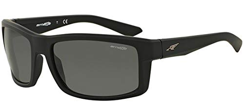 Arnette Men's AN4216 Corner Man Rectangular Sunglasses, Fuzzy Black/Dark Grey, 61 mm