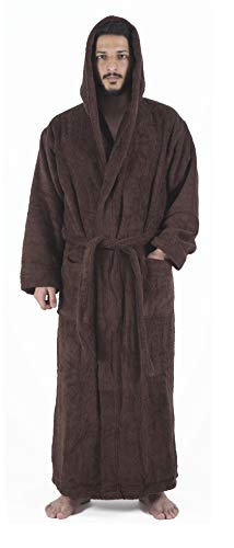 - Arvec Men's Combed Turkish Cotton Terry Full Ankle Length Hooded Bathrobe (Large/X-Large, Brown)