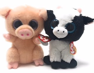 TY beanie boos set of 2, Butter the cow and Piggley the - Cow Beanie