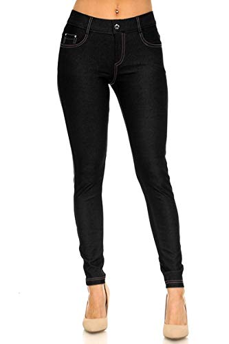 Yelete Womens Pull On Cotton Blend Color Jeggings Green Small (Black, Small)