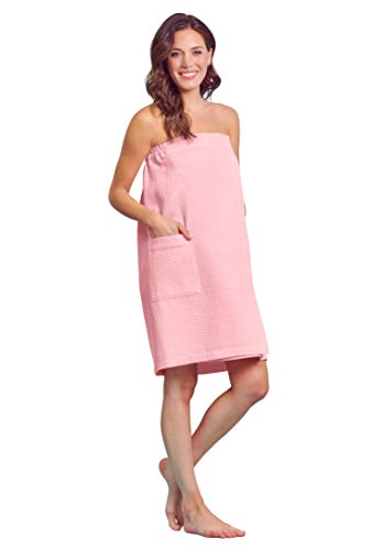 Women Waffle Spa/Bath Wrap with Pocket Soft Light Comfortable Adjustable Closure, Dries Fast (Tickle Me Pink)