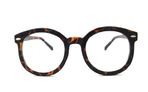 Vintage Retro Large Big Circle Round Nerd Glasses Clear Lens - Brown Big Glasses