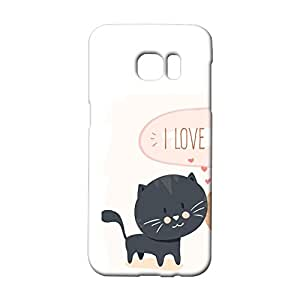 Durable 3d Case for Samsung Galaxy S7 Edge,Cute Cat Lovers Couples Series Pattern Phone Case Snap on Samsung Galaxy S7 Edge