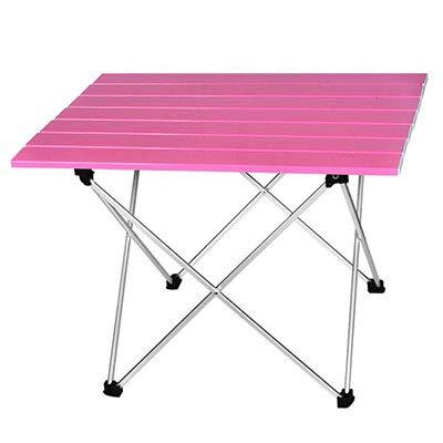 OTTAB Portable Table Foldable Folding Camping Hiking Desk Traveling Outdoor Picnic New Blue Gray Pink Black Al Alloy Ultra-Light S L L 56.5x40.5x41cm