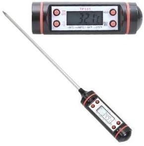 Termómetro digital con sonda de sensor de acero inoxidable,Pantalla LCD simple para facilitar la lec