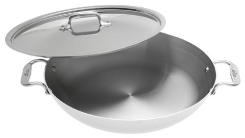 All-Clad 5413 Stainless Steel Paella Pan with Lid Cookware, Silver