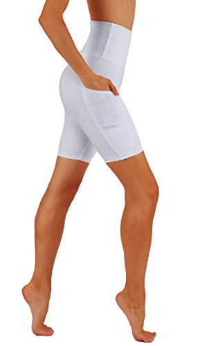 CodeFit High Waist Out Pocket Yoga Short Tummy Control Dry-Fit Non See-Through Yoga Shorts (L CF03/BS-WHT)