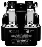 (NTE Electronics R04-11D30-12 Series R4 General Purpose Multicontact DC Open Frame Relay, Heavy Duty, DPDT Contact Arrangement, 30 Amp, 12 VAC)
