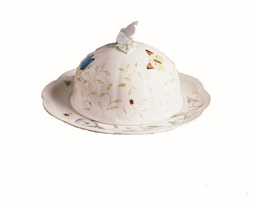 Lenox Butterfly Meadow Bone Porcelain Covered Round Butter Dish