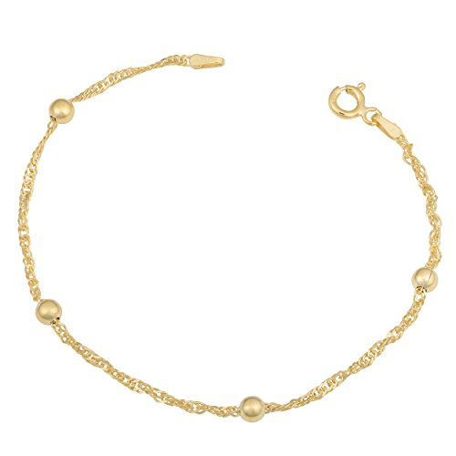 Yellow Gold Over Sterling Silver 1.5mm Singapore Bead Station Bracelet (7 (Bead Station Bracelet)
