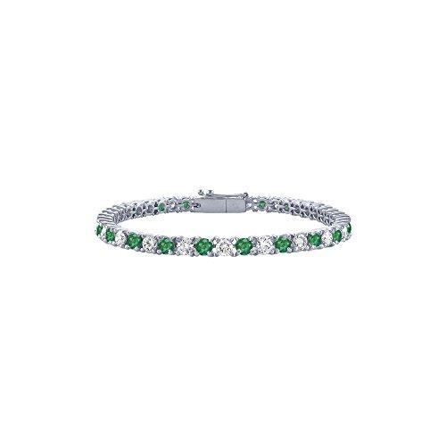 May Birthstone Emerald and Diamond Tennis Bracelet in Platinum 1.00 CT TGW