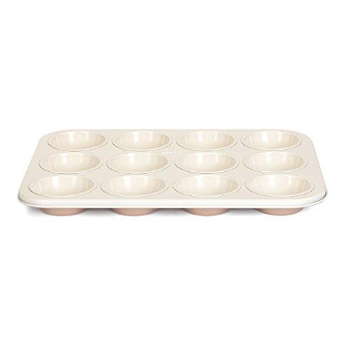 Patisse 03334 Ceramic Muffin Pan 12 Cups with Non-Stick Surface, Cream/Copper (Copper Muffin Pan compare prices)