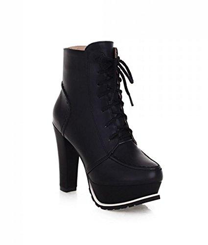 Zapatos Vendimia Correas Parte Superior Bomba Alto la Tacón de de la Botas de la Personalidad de Baja Elegantes HETAO de Tacones Black de la Plataforma Mujeres de Temperamento WT0vaI14xq