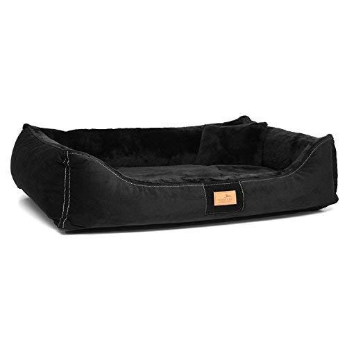 Tierlando Ultra Soft Orthopedic Dog Bed Floyd High-Tech-Velours and Stuffed Visco 03 black, FYD5   120 x 85 cm