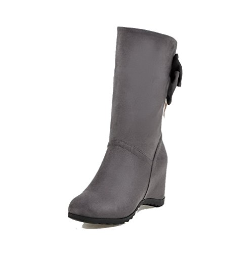 Low On High Heels Suede Top Gray Solid WeenFashion Imitated Women's Boots Pull F8R0nCt