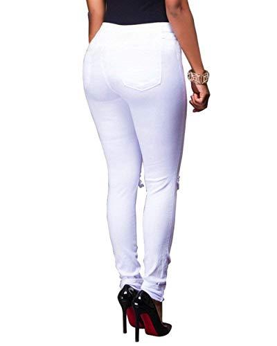 Flaco Sólido Agujero Mujeres Las Rasgado Als Alto Color Elásticos Bild Lápiz Botones Pantalones Casuales Mezclilla De pnq7qRH