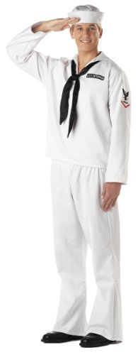 California Costumes Men's Sailor Costume, White, Medium (Ahoy Matey Mens Adult Costume)