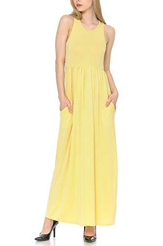 MINEFREE Women's Sleeveless Loose Casual Long Maxi Dress with Pockets Banana M