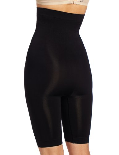 Heavenly Shapewear Women's Seamless High Waist Long Leg Slimmer, Black, Medium
