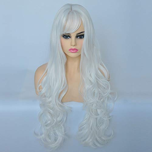 Long Wigs for White Women Oblique bangs Wigs Synthetic Hair Weave Full Wigs for women with 26 inches Long wavy curly hair Is a must-have wig for women, girls, and ladies.