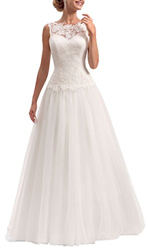 Onlybridal Women's Scoop Neck Lace Appliques Tulle Skirt Long Beach Wedding Dresses Beige