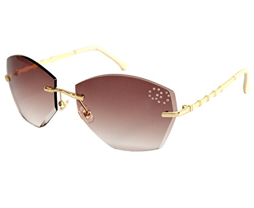VOLCHIEN Geometric Rhinestone Rimless Sunglasses Women Bamboo Joint Metal UV400 Protection Brown Lens Beige Arm VC1014