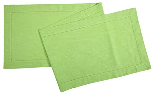 Linen Clubs Slub Cotton Table Runner in Lime Green Color with Hemstitched Detailing and Mitered Corner Finish on edges-100% Cotton Size 16x90Inch