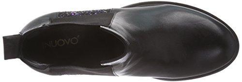 Inuovo INSANE - botines chelsea de cuero mujer negro - Schwarz (BLACK-BLACK MULTI GLITTER)