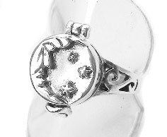 Sterling Silver Man on the Moon Star Poison Ring Size 9(Sizes 4,5,6,7,8,9,10)
