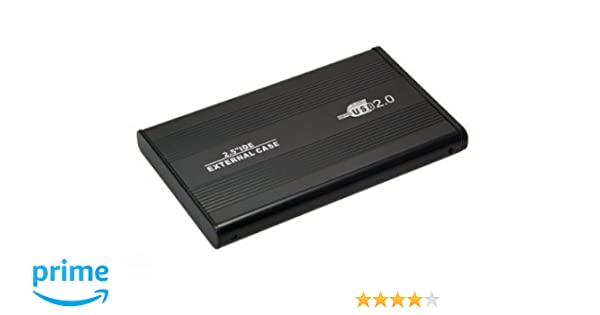 Aluminio (2,5 Pulgadas) IDE HDD USB 2.0 Disco Duro Externo 6,35 cm, Negro