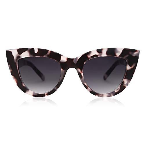 SOJOS Retro Vintage Cateye Sunglasses for Women UV400 Mirrored Lens SJ2939 with Black Tortoise Frame/Gradient Grey Lens