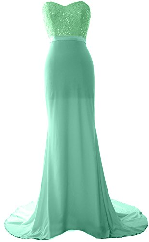 Long Gorgeous Bridesmaid MACloth Dress Minze Prom Sequin Jersey Gown Mermaid Strapless dBwZqf0Zx