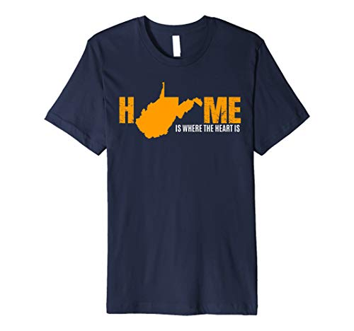 West Virginia WV Home Souvenir Novelty Silhouette Art Gift Premium T-Shirt (Souvenirs Wv)